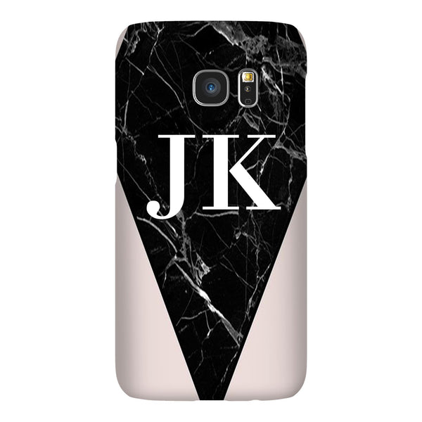 Personalised Pink x Black Marble Contrast Samsung Galaxy S7 Edge Case