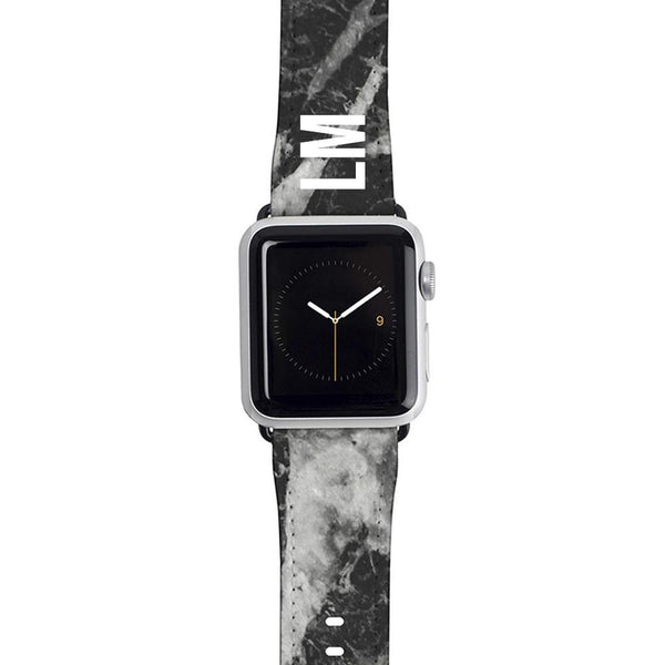 Personalised Black Stone Marble Apple Watch Strap