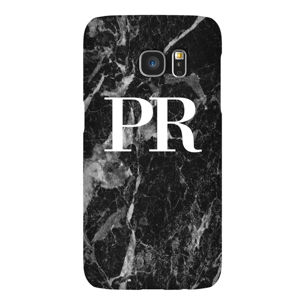Personalised Black Stone Marble Initials Samsung Galaxy S7 Edge Case
