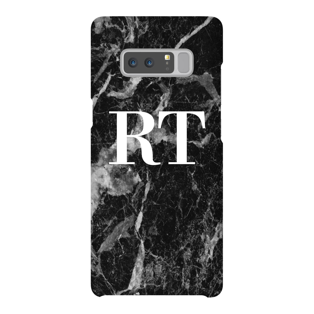 Personalised Black Stone Marble Initials Samsung Galaxy Note 8 Case