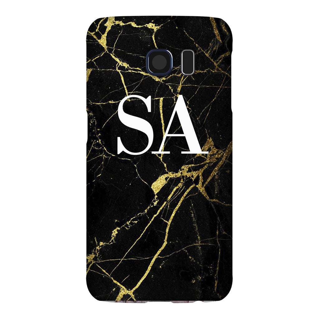 Personalised Black x Gold Marble Initials Samsung Galaxy S6 Case