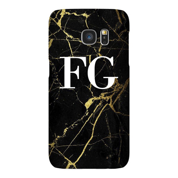 Personalised Black x Gold Marble Initials Samsung Galaxy S7 Case