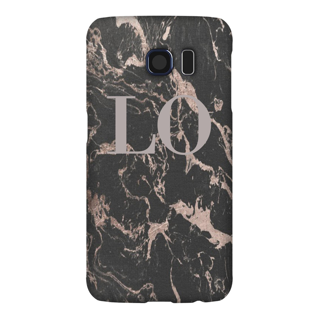 Personalised Black x Pink Marble Initials Samsung Galaxy S6 Edge Case