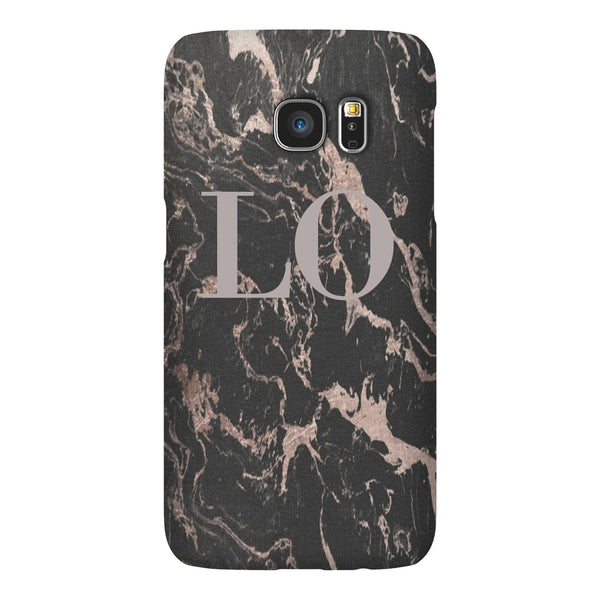 Personalised Black x Pink Marble Initials Samsung Galaxy S7 Case
