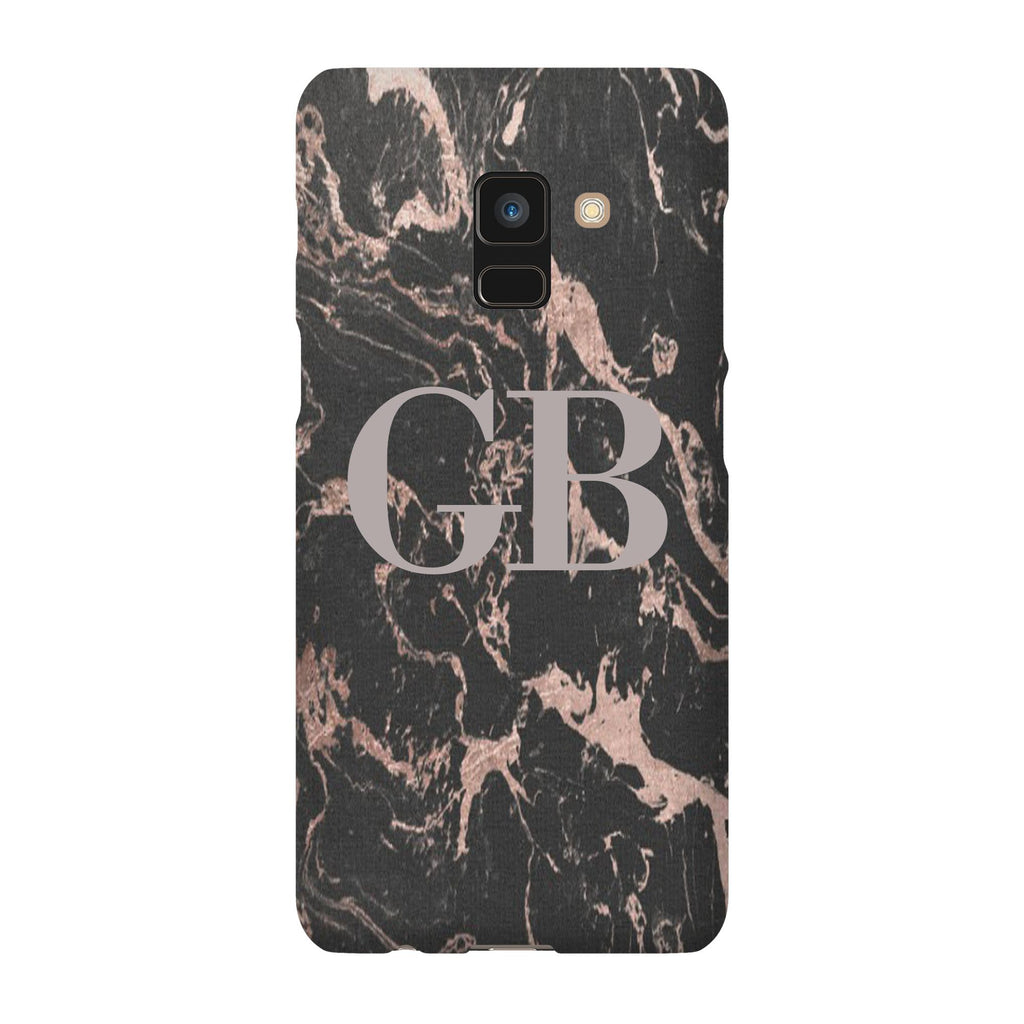 Personalised Black x Pink Marble Initials Samsung Galaxy A8 Case