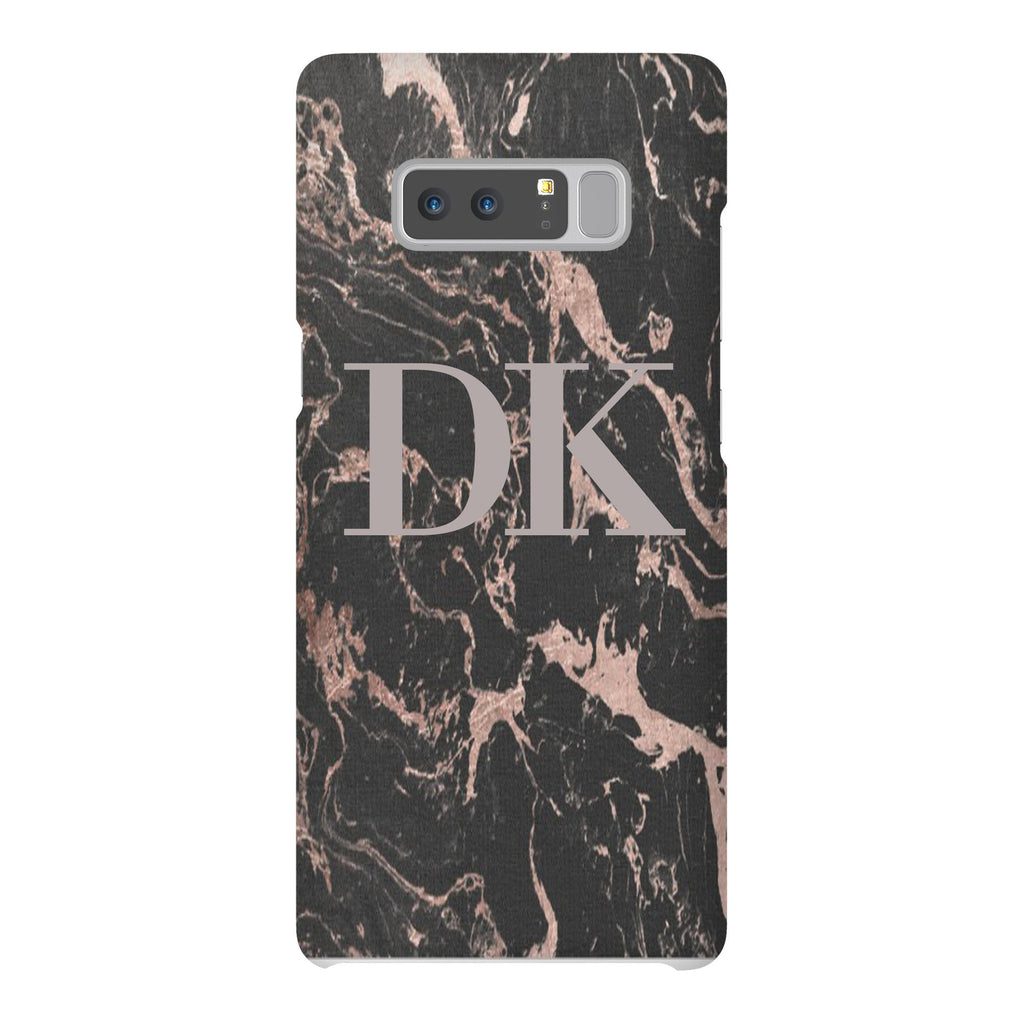Personalised Black x Pink Marble Initials Samsung Galaxy Note 8 Case