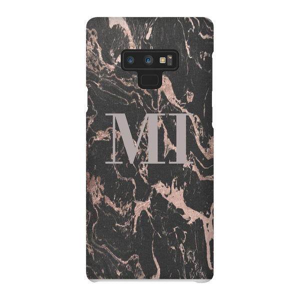 Personalised Black x Pink Marble Initials Samsung Galaxy Note 9 Case
