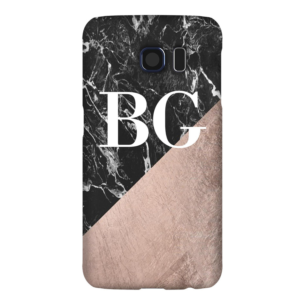 Personalised Black x Rose Gold Marble Initials Samsung Galaxy S6 Edge Case