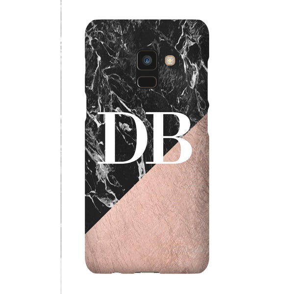 Personalised Black x Rose Gold Marble Initials  Samsung Galaxy A8 Case