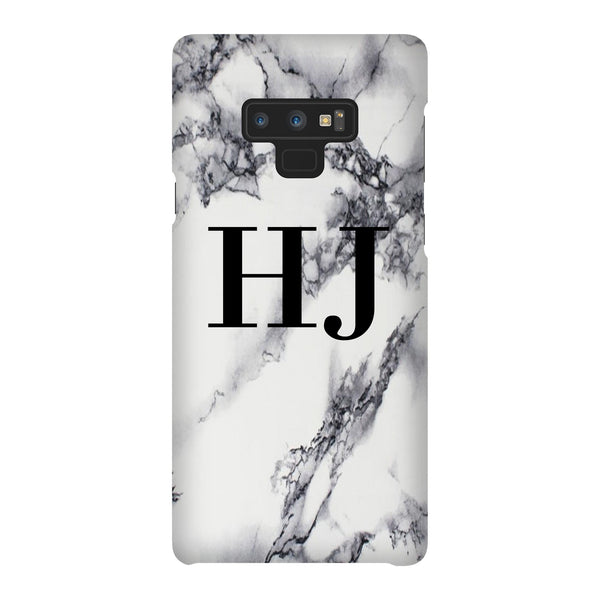 Personalised White x Black Marble Initials Samsung Galaxy Note 9 Case