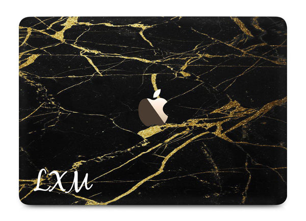 Personalised Black x Gold Marble Initials MacBook Case