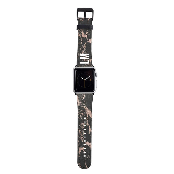 Personalised Black x Pink Marble  Apple Watch Strap