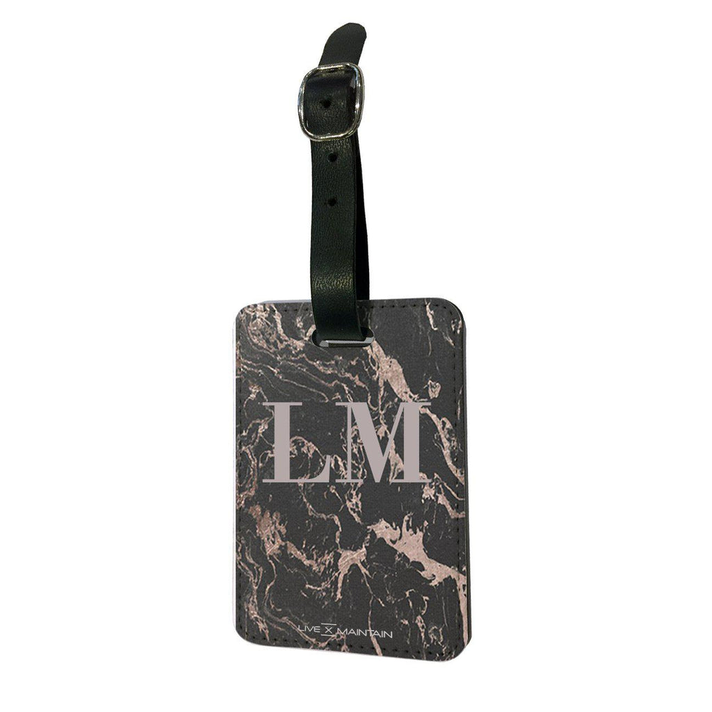 Personalised Black x Pink Marble Initials Luggage Tag