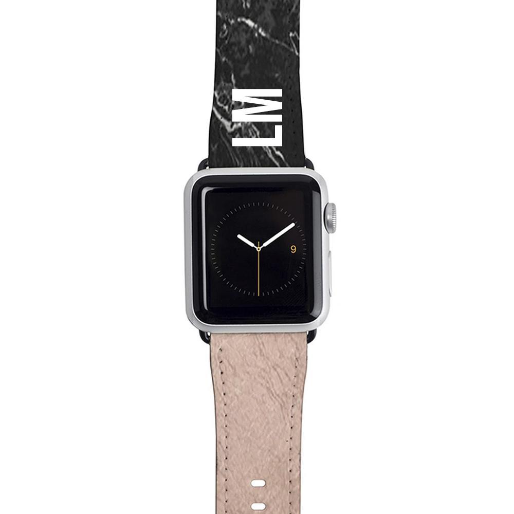 Personalised Black x Rose Gold Marble Apple Watch Strap