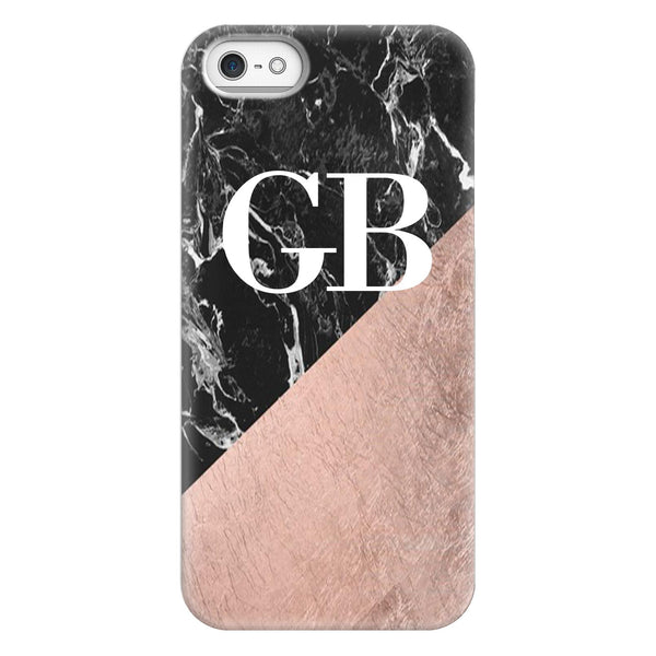 Personalised Black X Rose Gold Marble Initials iPhone 5/5s/SE (2016) Case