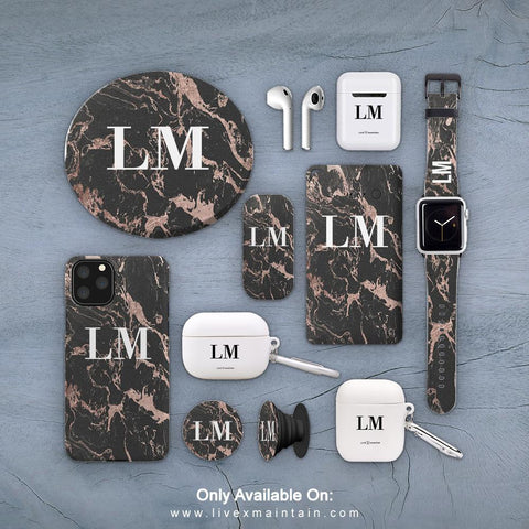 Personalised Black x Pink Marble Phone Case Accessories Package