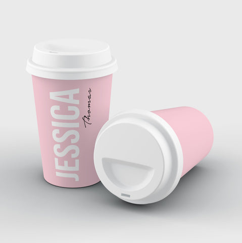 Personalised Bloom Side Name Reusable Coffee Cup