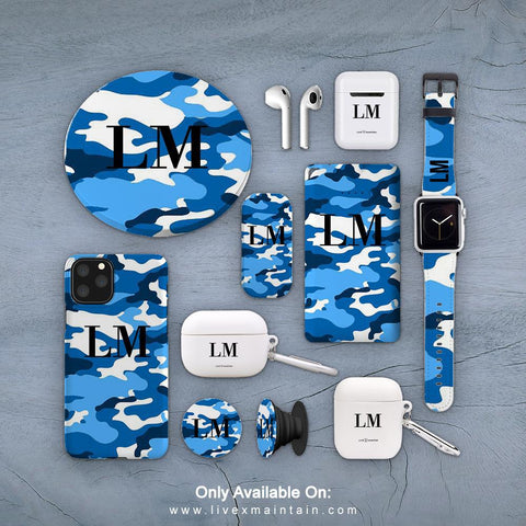 Personalised Blue Camouflage Initials Phone Case Accessories Package