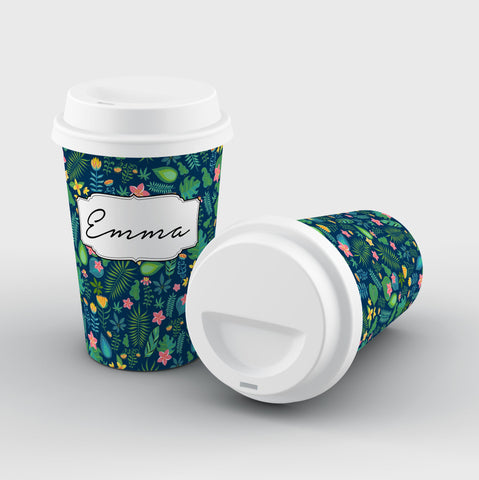 Personalised Name Blue Leaf Reusable Coffee Cup
