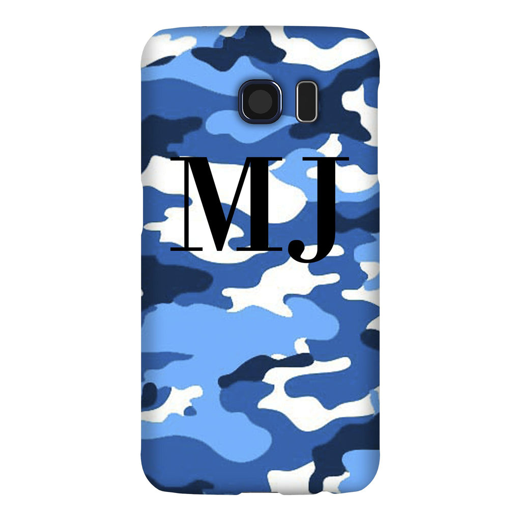Personalised Blue Camouflage Initials Samsung Galaxy S6 Case