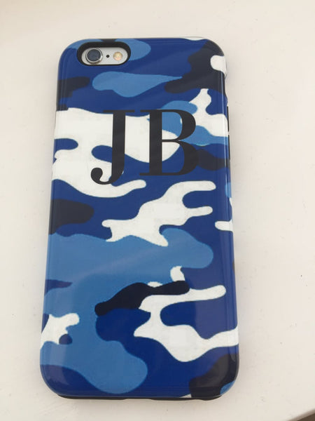 Personalised Blue Camouflage initials iPhone X Case