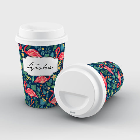 Personalised Blue Flamingo Name Reusable Coffee Cup