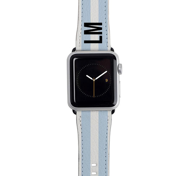 Personalised Blue Stripe Apple Watch Strap