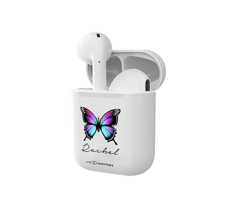 Personalised Butterfly Name Smart Earbuds