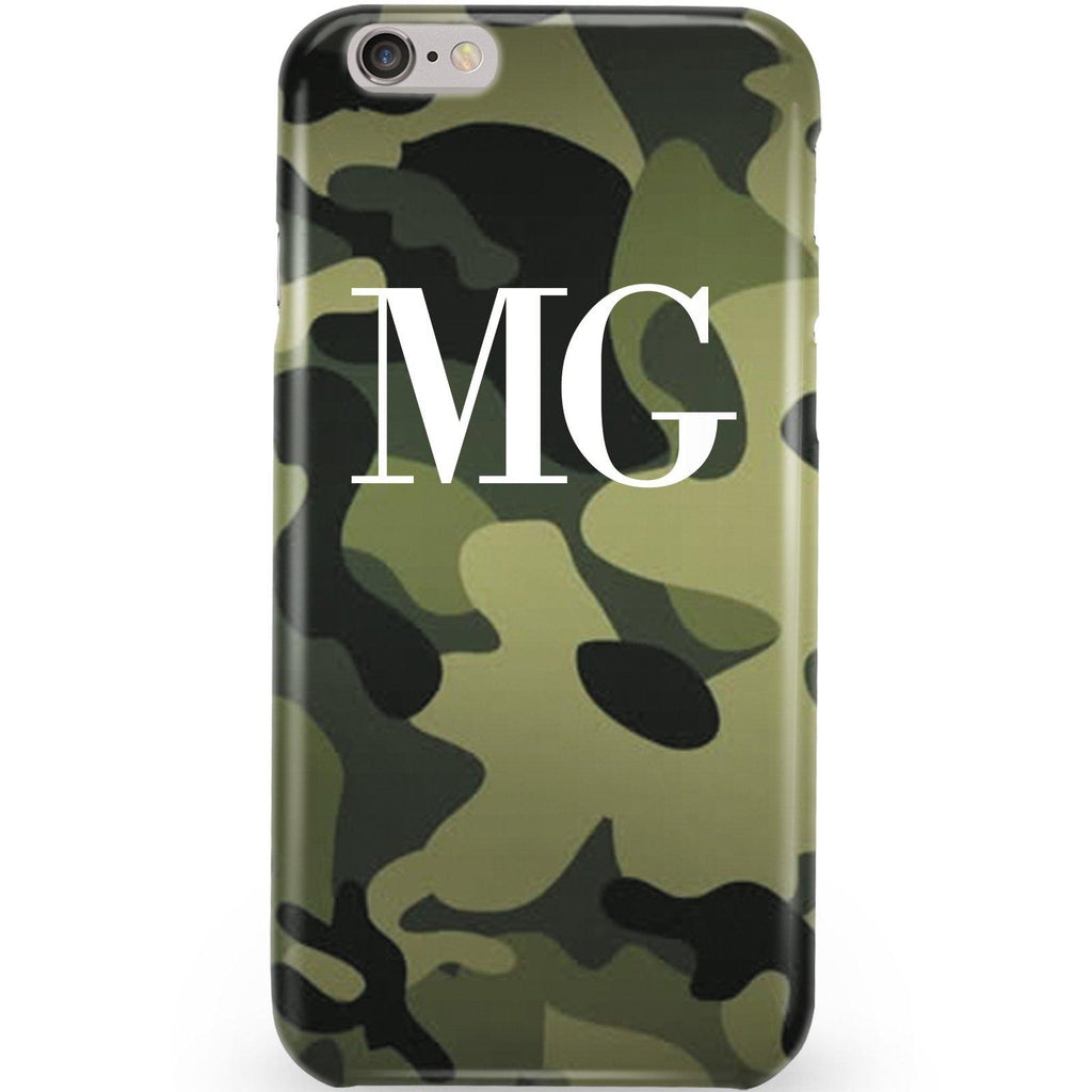 Personalised Green Camouflage Initials Phone Case