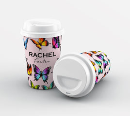 Personalised Butterfly Name Reusable Coffee Cup