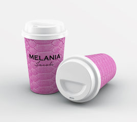 Personalised Pink Snake Skin Name Reusable Coffee Cup