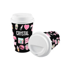 Personalised Pink Sticker Reusable Coffee Cup