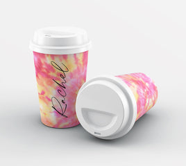 Personalised Tie Dye Name Reusable Coffee Cup
