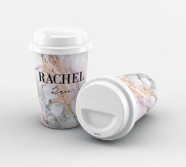 Personalised White Galaxy Marble Name Reusable Coffee Cup