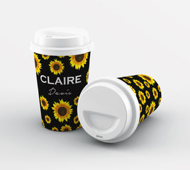 Personalised Sunflower Name Reusable Coffee Cup