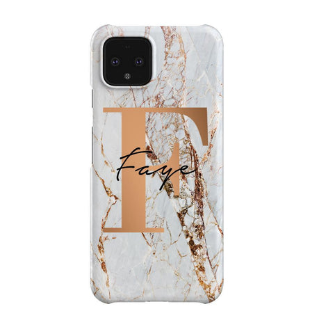 Personalised Cracked Marble Bronze  Initials Google Pixel 4 Case