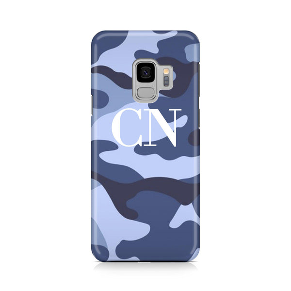 Personalised Cobalt Blue Camouflage Initials Samsung Galaxy S9 Case