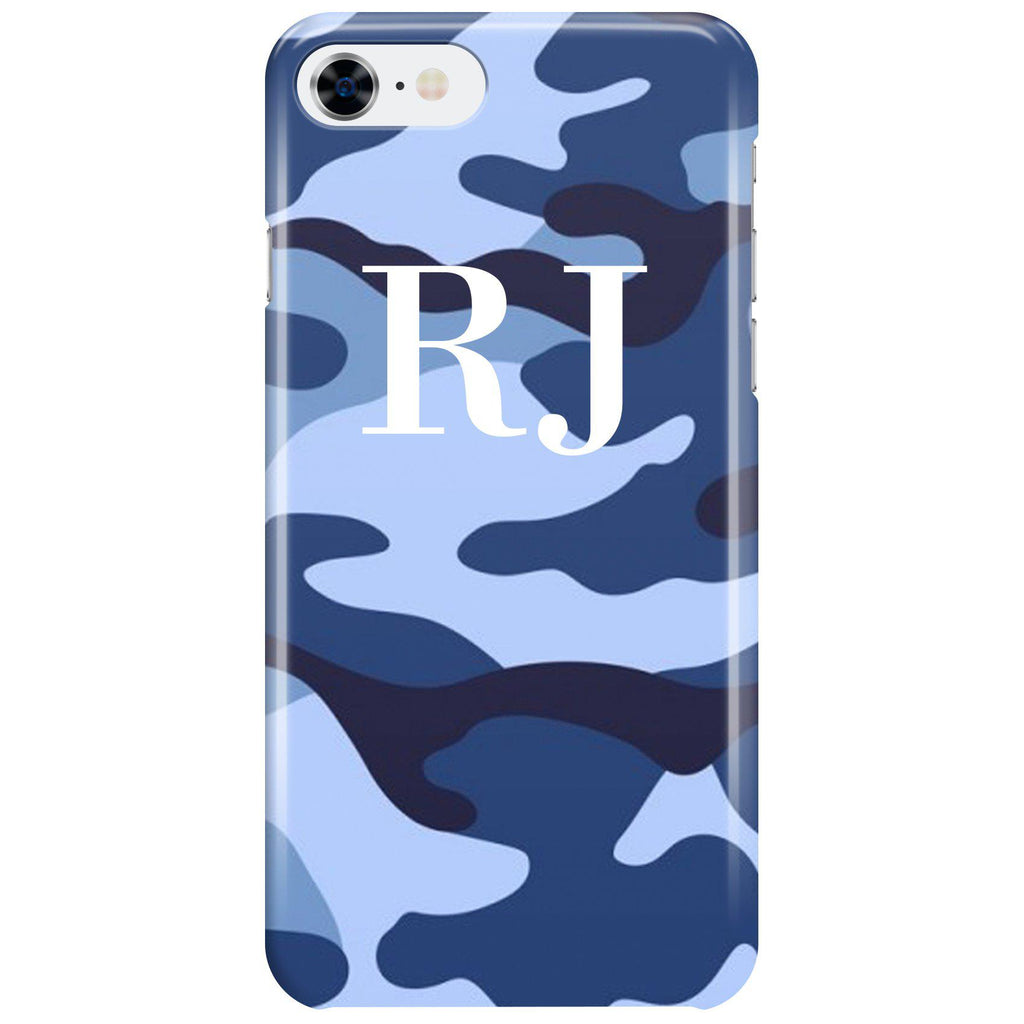 Personalised Cobalt Blue Camouflage Initials iPhone 7 Case