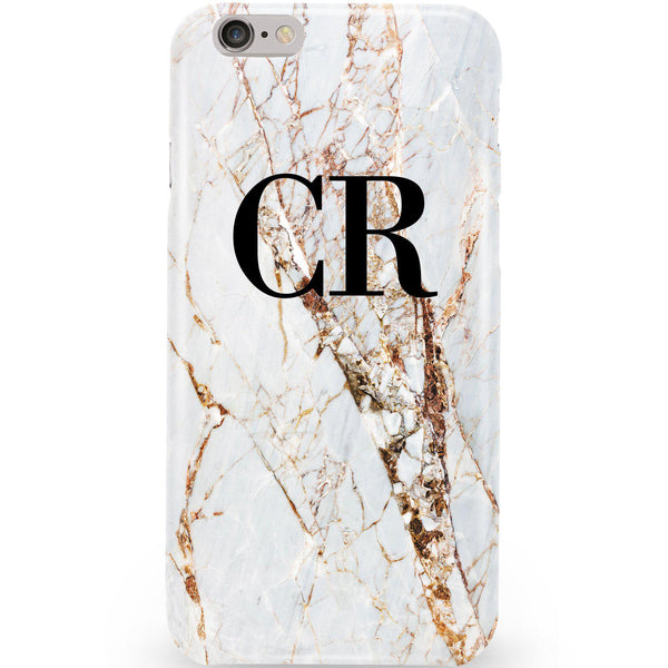 Personalised Cracked Marble Initials iPhone 6/6s Case