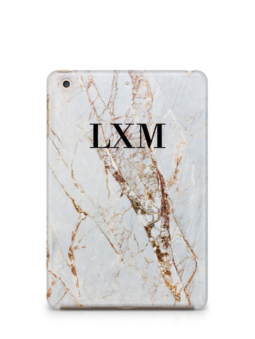 Personalised Cracked Marble Initials iPad Case