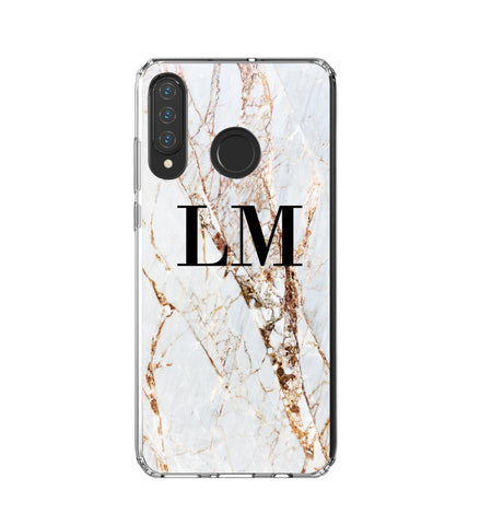 Personalised Cracked Marble Initials Huawei P30 Lite Case