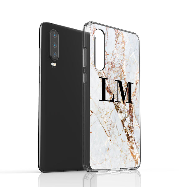 Personalised Cracked Marble Initials Huawei P30 Case