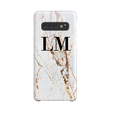 Personalised Cracked Marble Initials Samsung Galaxy S10 Plus Case