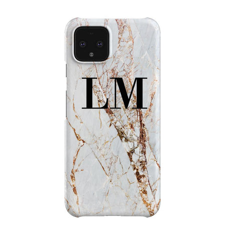 Personalised Cracked Marble Initials Google Pixel 4XL Case