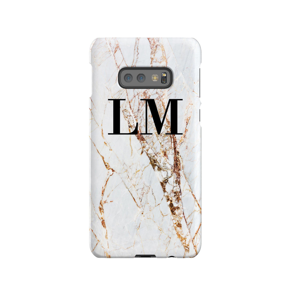 Personalised Cracked Marble Initials Samsung Galaxy S10e Case