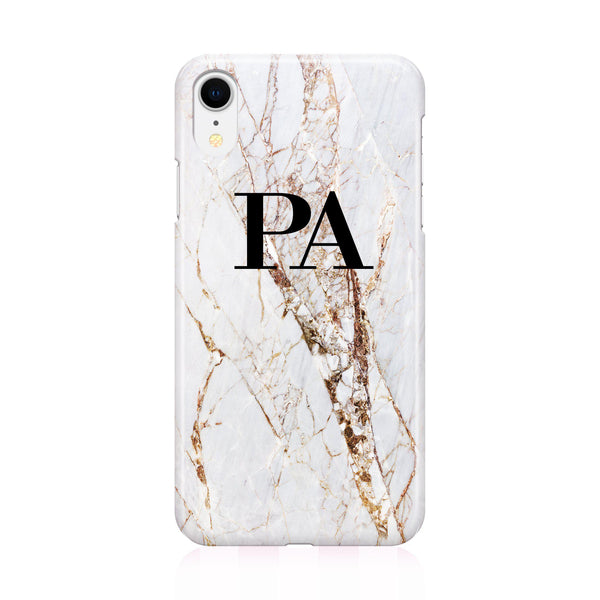 Personalised Cracked Marble Initials iPhone XR Case
