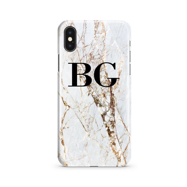 Personalised Cracked Marble Initials iPhone XS Max Case