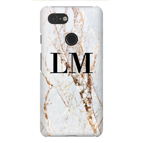 Personalised Cracked Marble Initials Google Pixel 3 Case