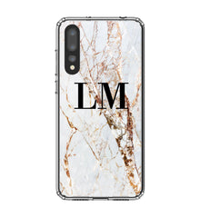 Personalised Cracked Marble Initials Huawei P20 Pro Case