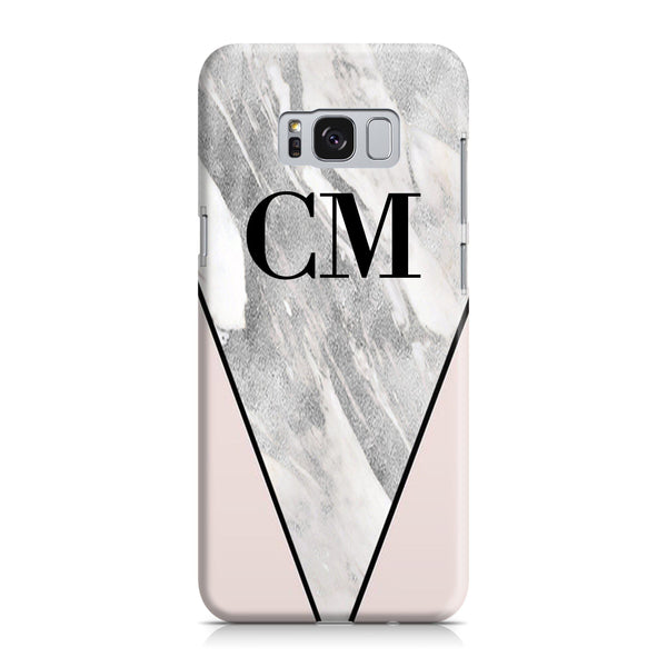 Personalised Pink x Castello Marble Contrast Samsung Galaxy S8 Plus Case